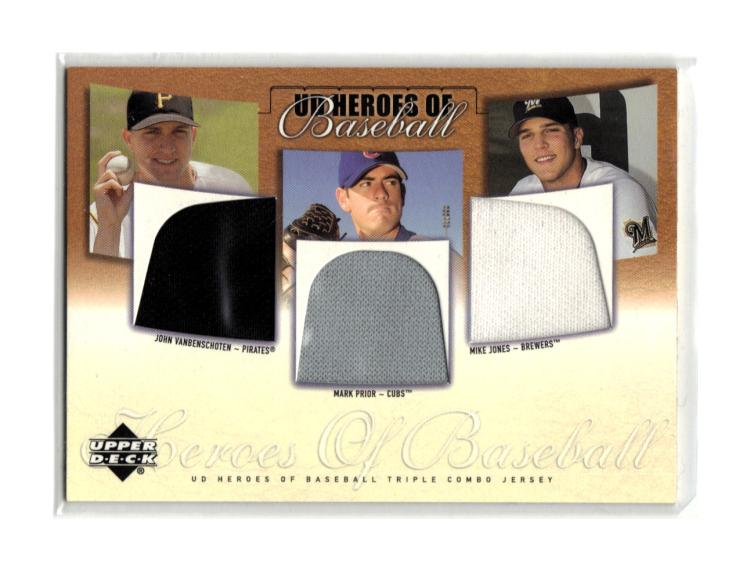 2001 Upper Deck Prospect Premieres Heroes of Baseball Game Jersey Trios
