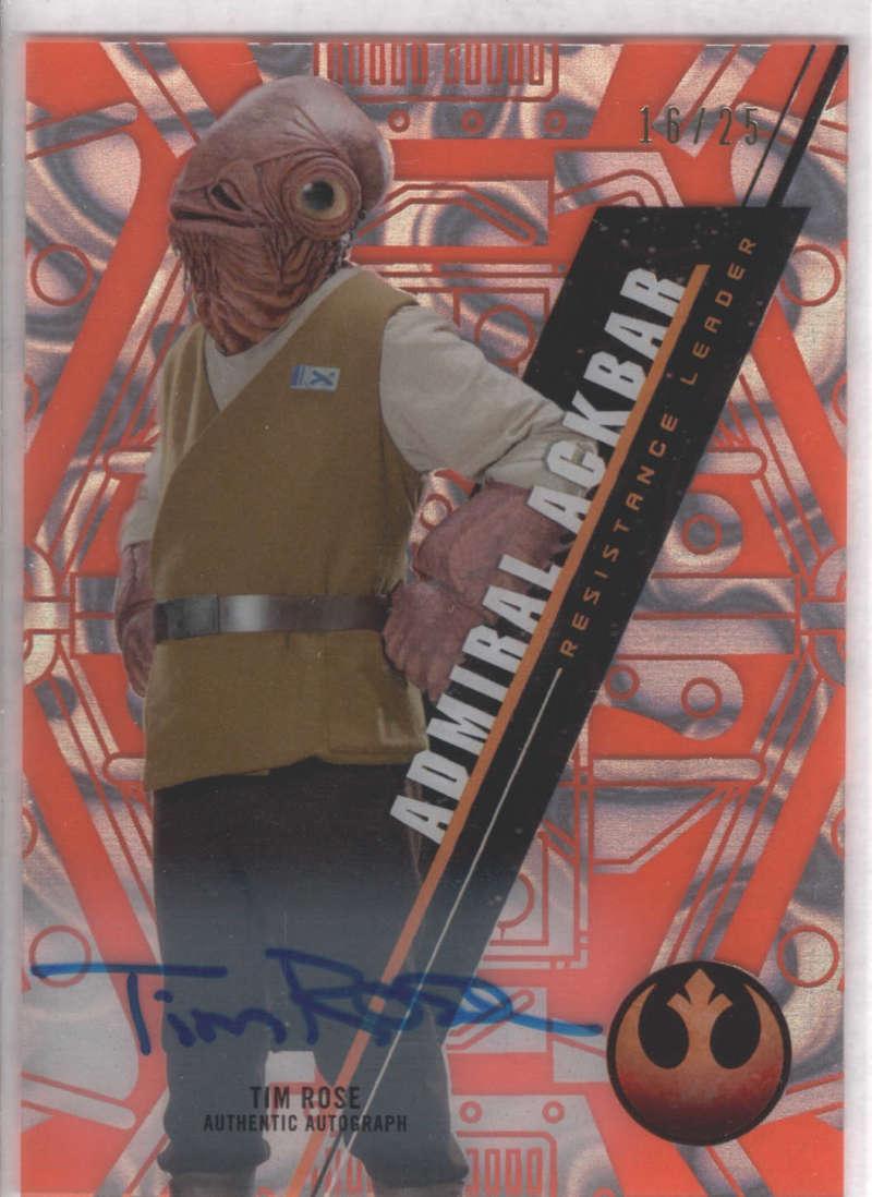 2016 Topps Star Wars High Tek Autographs Orange MAGMA Diffractor