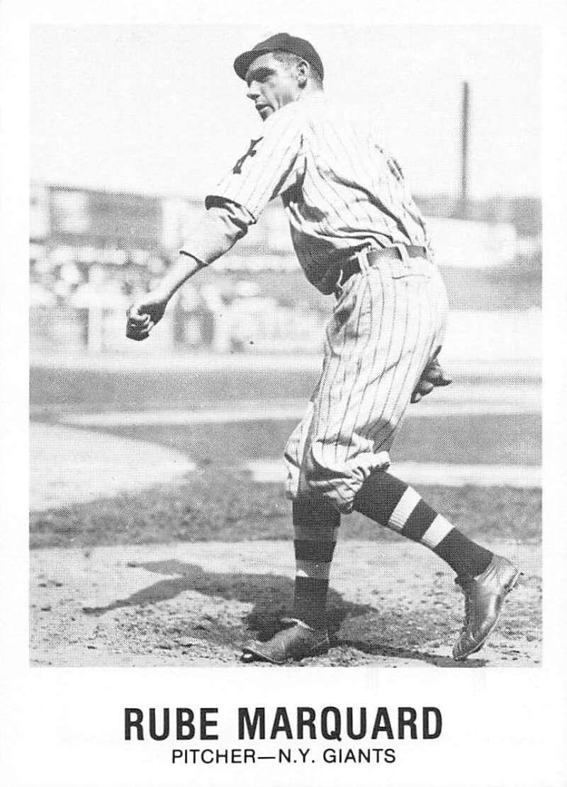 1977-84 Galasso Glossy Greats Baseball #158 Rube Marquard New York Giants  Copyright 1981 Renata Galasso Inc. Produced by TCMA