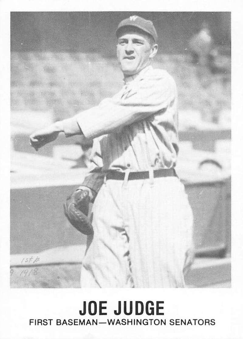 1977-84 Galasso Glossy Greats Baseball #171 Joe Judge Washington Senators  Copyright 1981 Renata Galasso Inc. Produced by TCMA
