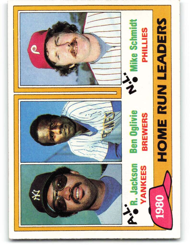 1981 Topps #2 Reggie Jackson/Ben Oglivie/Mike Schmidt Home Run Leaders NM-MT
