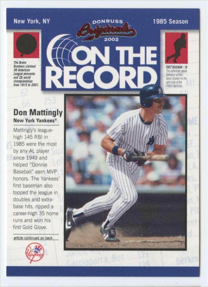 2002 Donruss Originals On The Record