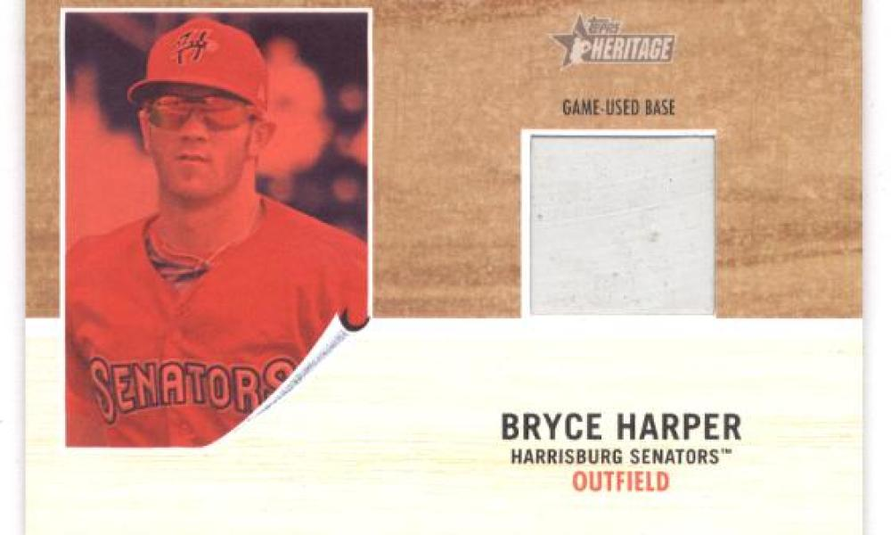 2011 Topps Heritage Minor League Bryce Harper Game Used Base Red Tint