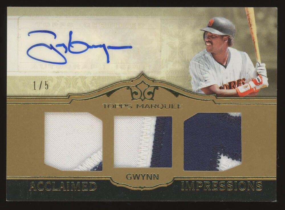 2011 Topps Marquee Acclaimed Impressions Triple Relic Autographs Gold