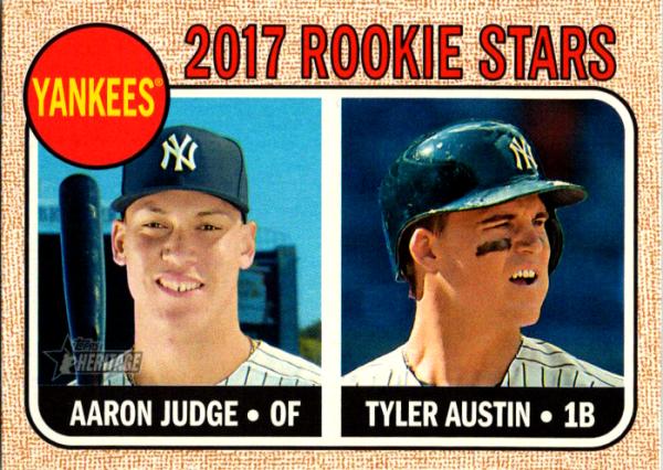2017 Topps Heritage #214 Aaron Judge/Tyler Austin RC Rookie Yankees NM-MT