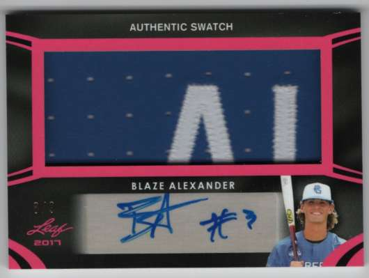 2017 Leaf Metal Perfect Game All-American Autographed Patches Pink