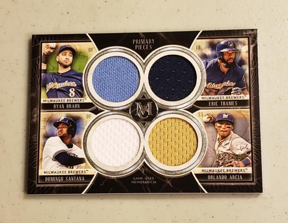 2018 Topps Museum Primary Pieces Quad Relics Four Player Copper
