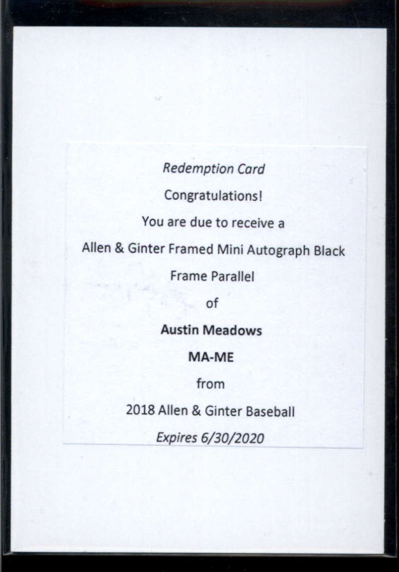 2018 Allen and Ginter  Framed Mini Baseball Autographs Black Frame