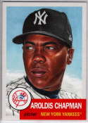 2019 Topps MLB The Living Set #253 Aroldis Chapman New York Yankees  Official Baseball Trading Card with Facsimile Red Autograph on Back Continuation