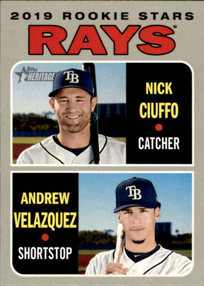 2019 Topps Heritage #381 Andrew Velazquez/Nick Ciuffo NM-MT RC Rookie Tampa Bay Rays