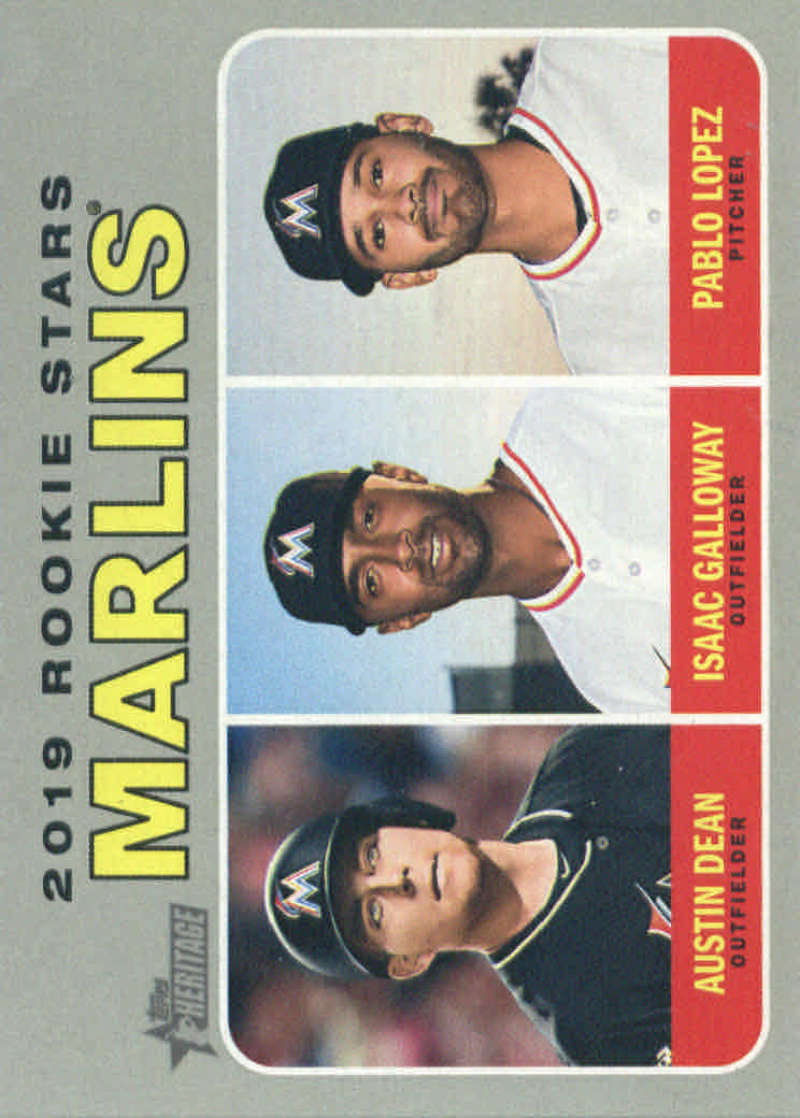 2019 Topps Heritage #391 Austin Dean/Isaac Galloway/Pablo Lopez NM-MT RC Rookie Miami Marlins