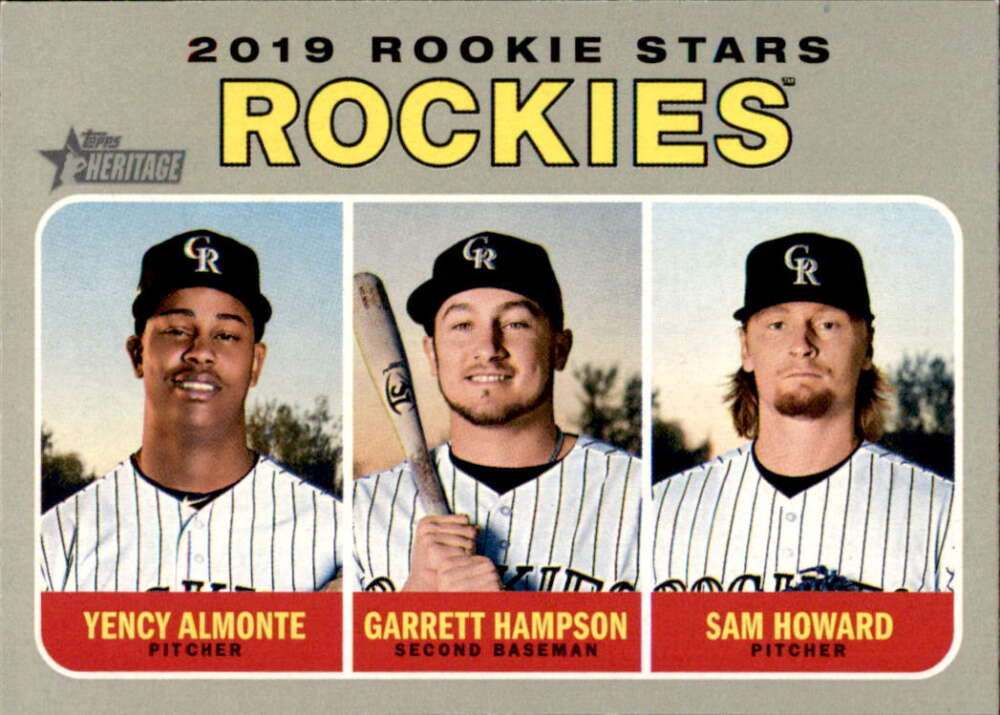 2019 Topps Heritage #396 Garrett Hampson/Sam Howard/Yency Almonte NM-MT RC Rookie Colorado Rockies