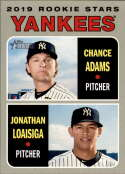 2019 Topps Heritage #189 Chance Adams/Jonathan Loaisiga NM-MT RC Rookie New York Yankees