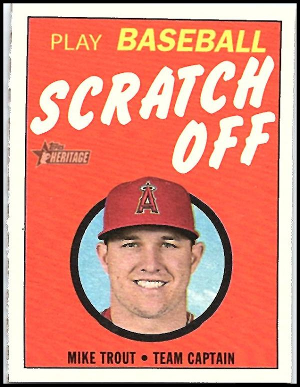 2019 Topps Heritage 1970 Topps Scratch-Off Baseball #1 Mike Trout Los Angeles Angels  Official MLB Trading Card.
