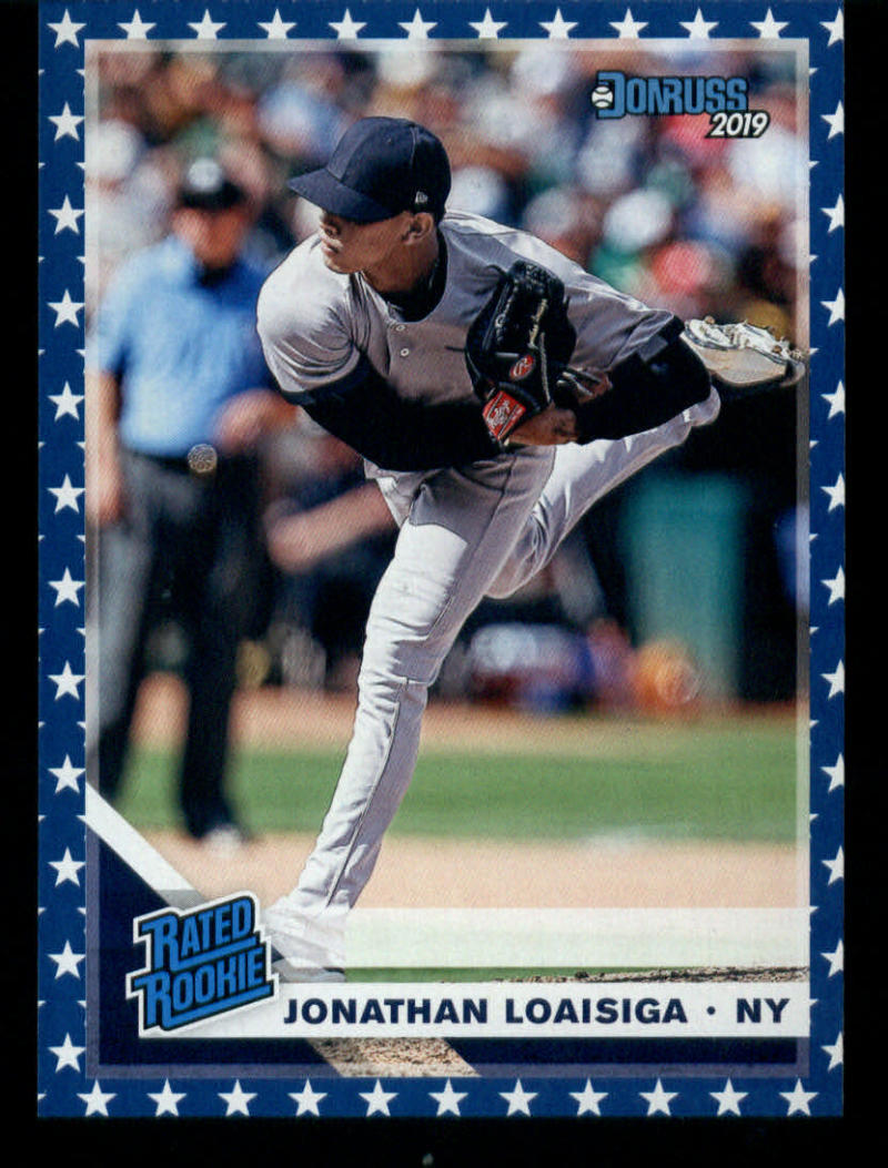 2019 Donruss Independence Day Baseball #41 Jonathan Loaisiga New York Yankees Rated Rookie  Official MLBPA Trading Card from Panini