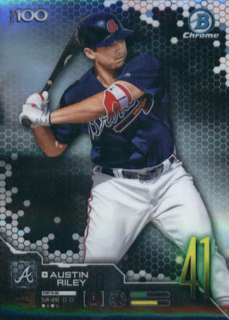 2019 MLB Bowman Scouts Top 100 Chrome Refractor #BTP-41 Austin Riley Atlanta Braves  Official Baseball Card produced by Topps