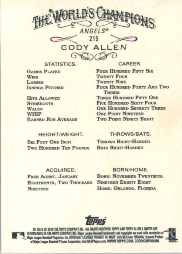 thumbnail 31 - 2019 Topps Allen & Ginter Baseball Gold Hot Box - Pick A Player - Cards 201-400