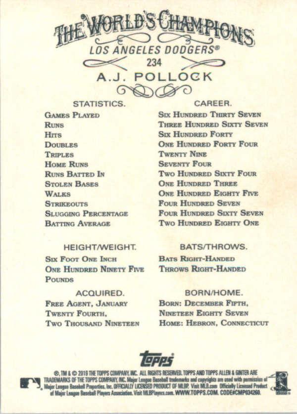 thumbnail 67 - 2019 Topps Allen & Ginter Baseball Gold Hot Box - Pick A Player - Cards 201-400