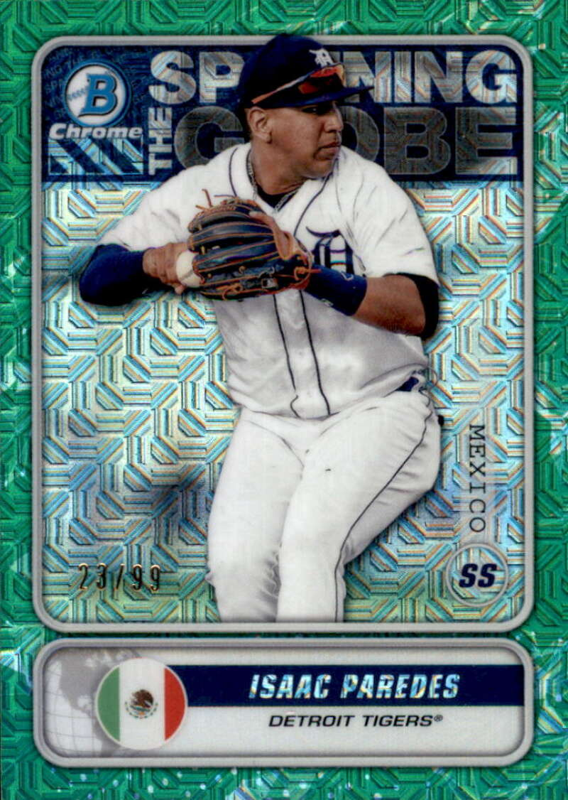 2020 Bowman Mega Box Chrome Mojo Spanning the Globes Refractors Green