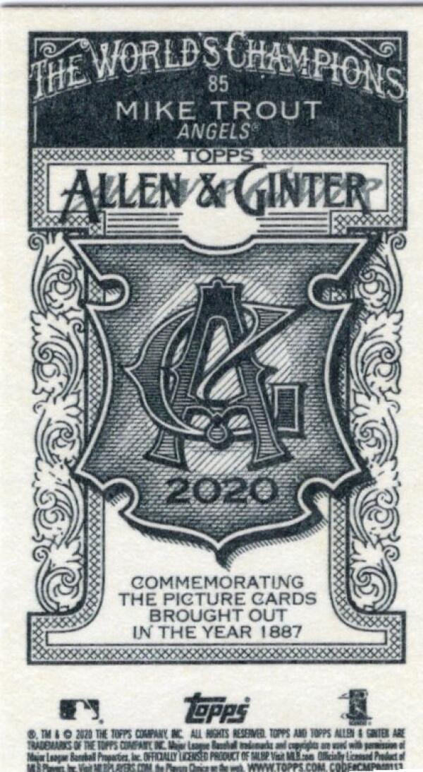 2020 Allen and Ginter  Mini A&G Backs