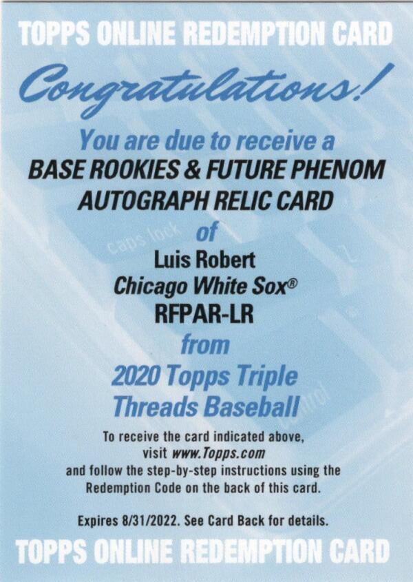 2020 Topps Triple Threads Rookies & Future Phenoms Autographed Relic