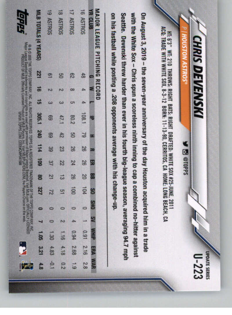 thumbnail 337 - 2020 Topps Update Baseball Singles | NM-MT+ | Complete Your Set | You Pick!