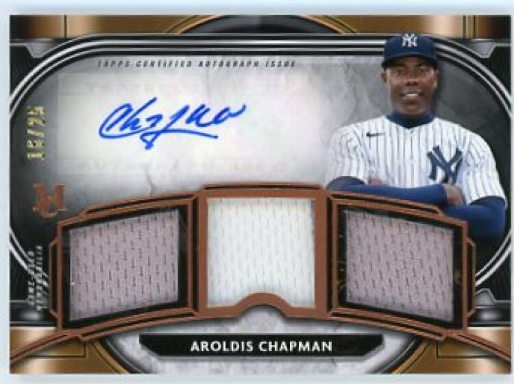 2021 Topps Museum Single-Player Signature Swatches Triple Relic Autographs Gold