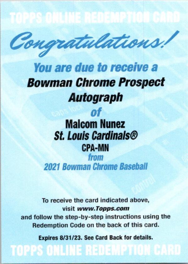 2021 Bowman Chrome Prospect Autographs