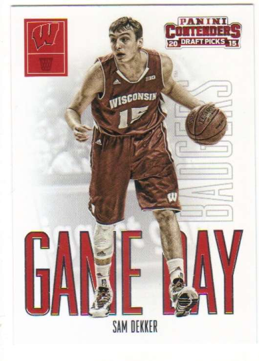 2015-16 Contenders Draft Picks Game Day Basketball #39 Sam Dekker Wisconsin Badgers  Official NCAA Trading Card made by Panini