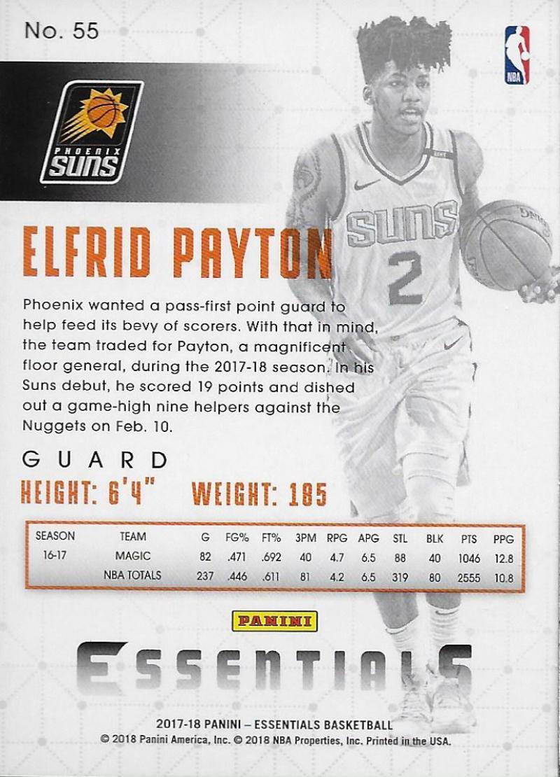 2017-18 Panini Essentials Green  55 Elfrid Payton. Phoenix Suns. Front  image Front image 16263f560