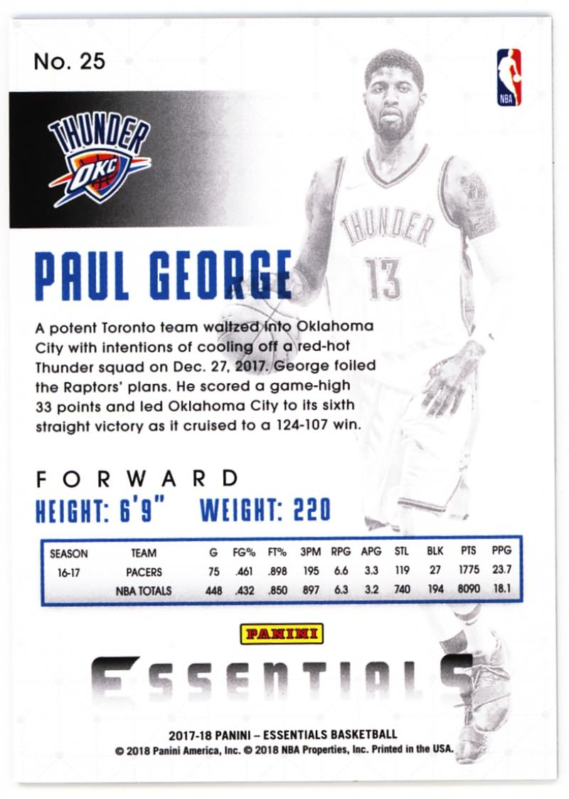 2017-18 Panini Essentials Spiral  25 Paul George. Oklahoma City Thunder.  Front image Front image 1f0b4b085