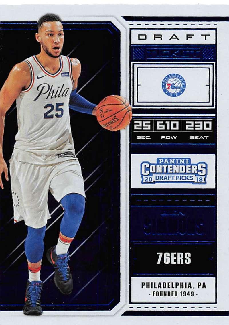 af43b74d3070 2018-19 Panini Contenders Draft Picks Draft Ticket Blue Foil  4 Ben Simmons