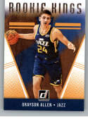 2018-19 Donruss Rookie Kings Basketball Insert #30 Grayson Allen Utah Jazz  Official NBA Rookie Card RC (made by Panini)