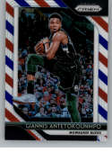 2018-19 Panini Prizm Red White Blue Starburst Refractor #296 Giannis Antetokounmpo Milwaukee Bucks Official NBA Basketba