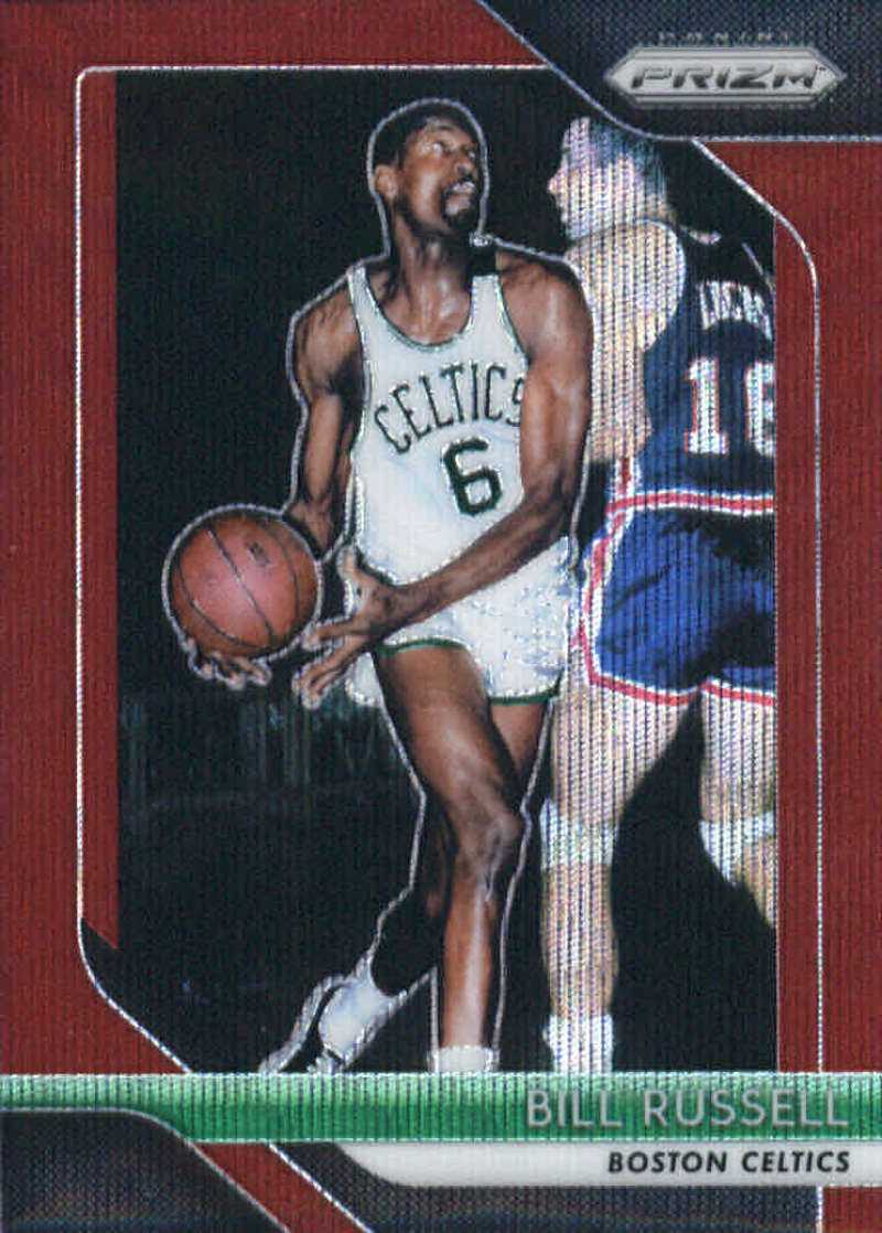 2018-19 Panini Prizm Ruby Red Wave Refractor #25 Bill Russell Boston Celtics Official NBA Basketball Trading Card