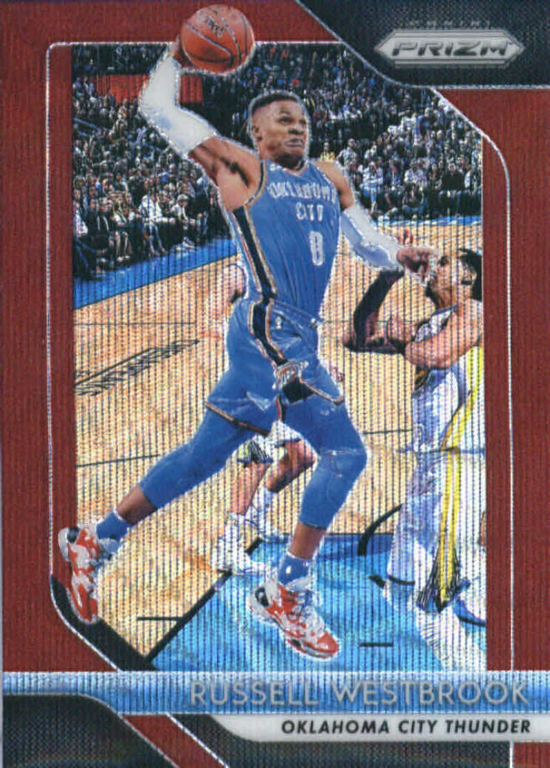 2018-19 Panini Prizm Ruby Red Wave Refractor #39 Russell Westbrook Oklahoma City Thunder Official NBA Basketball Trading