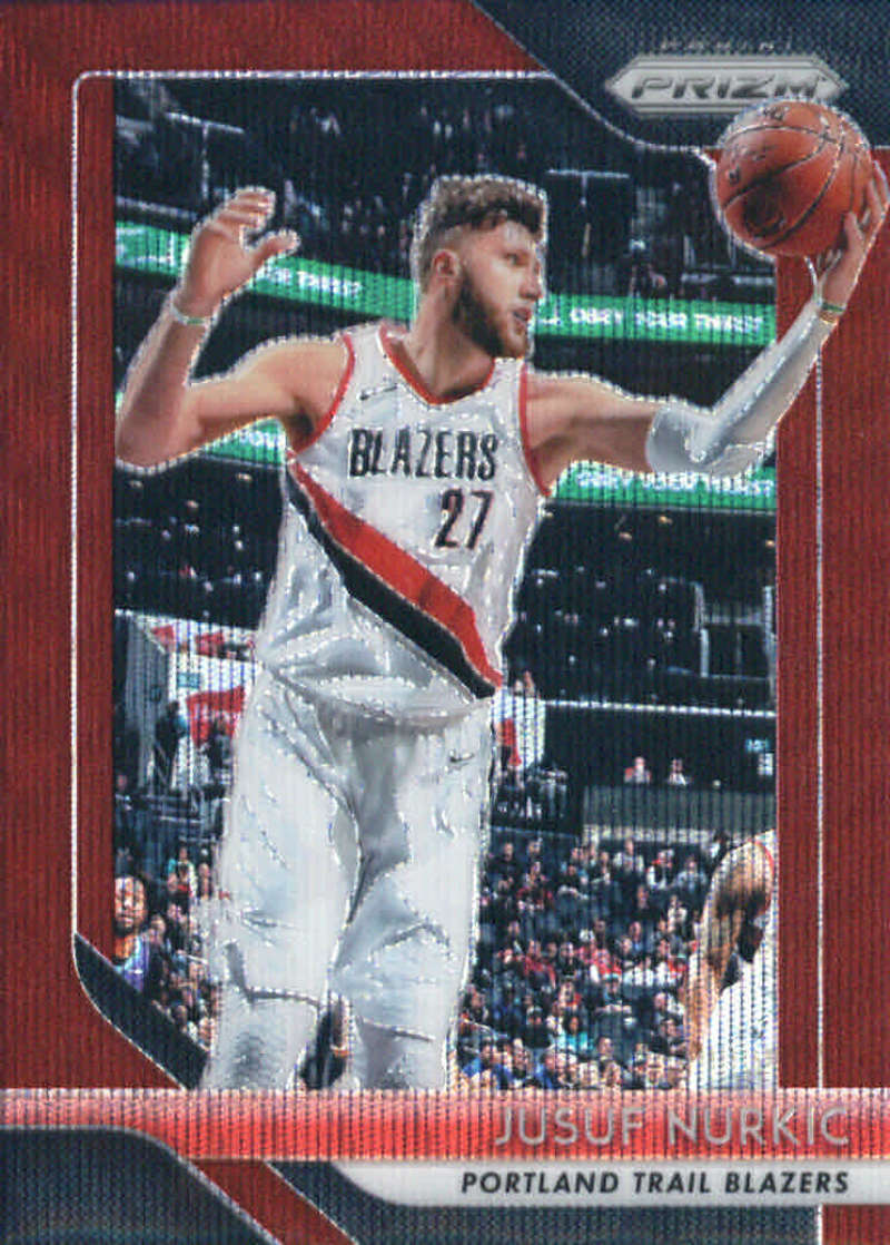 2018-19 Panini Prizm Ruby Red Wave Refractor #121 Jusuf Nurkic Portland Trail Blazers Official NBA Basketball Trading Ca