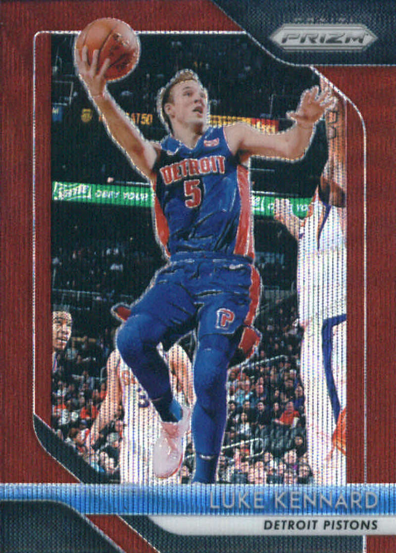 2018-19 Panini Prizm Ruby Red Wave Refractor #152 Luke Kennard Detroit Pistons Official NBA Basketball Trading Card