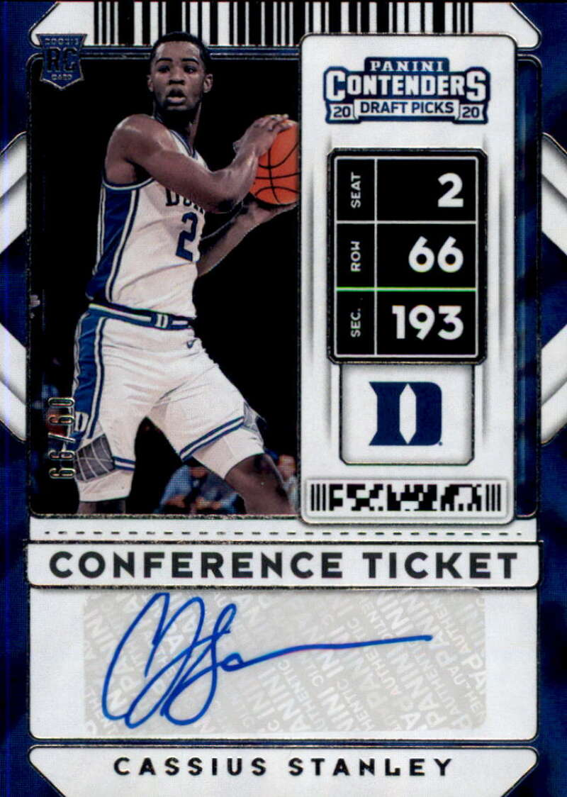 2020-21 Panini Contenders Draft Picks Prospect Game Ticket Stickers Autographs Blue