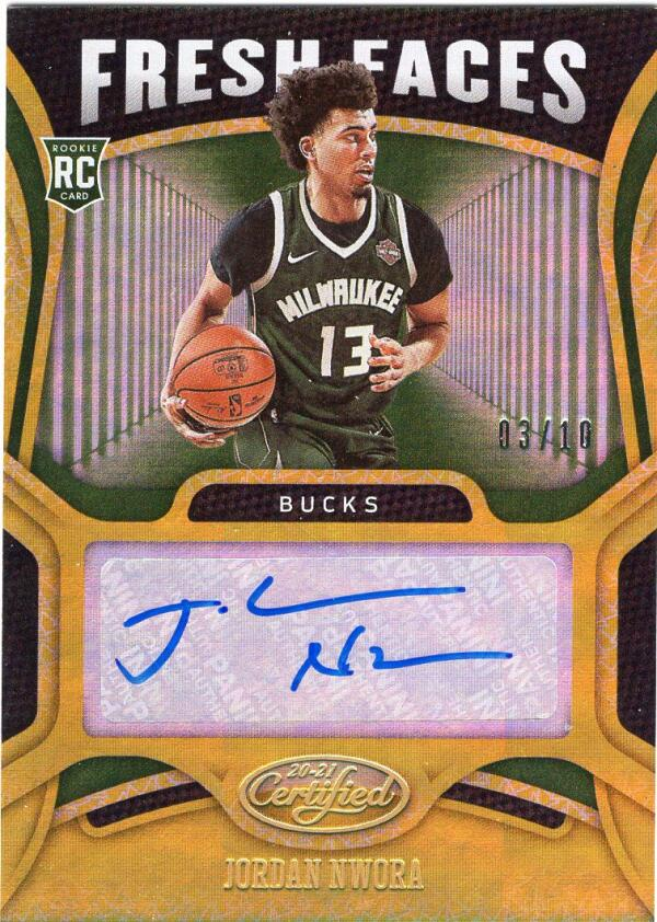 2020-21 Panini Certified Fresh Faces Signatures Gold