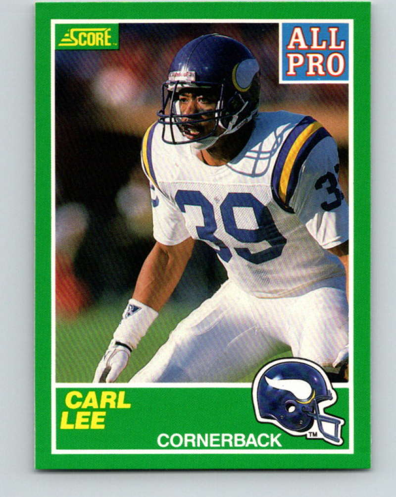 1989 Score Football #289 Carl Lee RC Rookie Card Minnesota Vikings AP Official NFL Trading Card From the Premiere Score