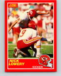 1989 Score Football #208 Nick Lowery Kansas City Chiefs Official NFL Trading Card From the Premiere Score Set