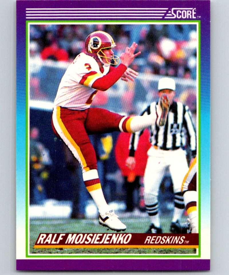 1990 Score Football #208a Chargers Stats Ralf Mojsiejenko Washington Redskins Official NFL Trading Card From The Pinnacl