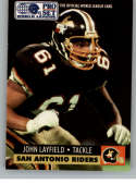 1991 Pro Set World League of American Football #146 John Layfield San Antonio Riders  Official WLAF Trading Card