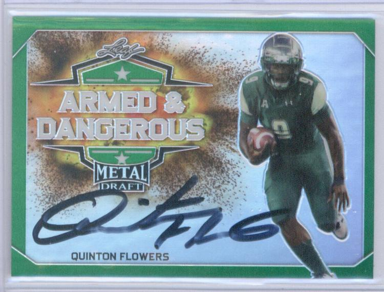 2018 Leaf Metal Draft Armed and Dangerous Prismactic Autographs Green