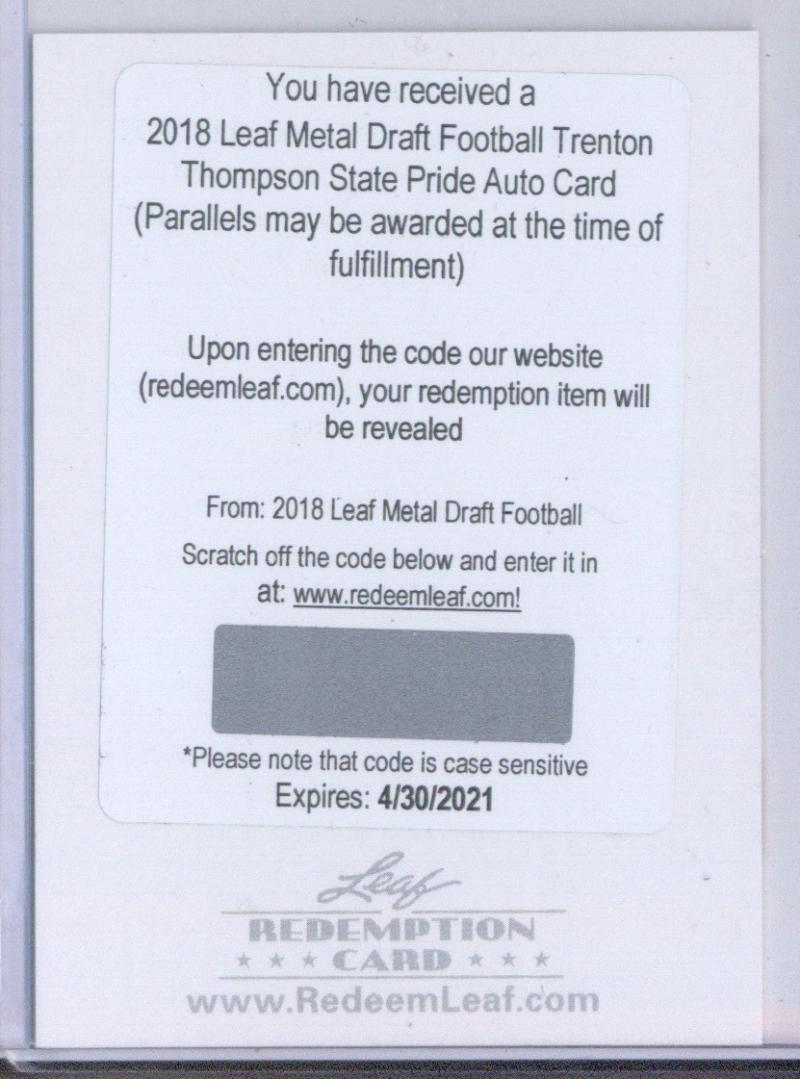 2018 Leaf Metal Draft State Pride Wave Autographs Silver