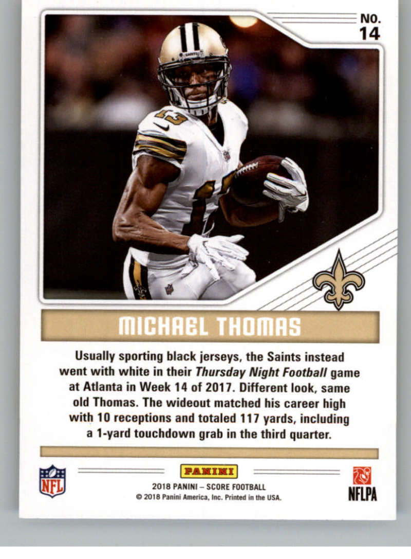 2018 Score Color Rush Gold  14 Michael Thomas. New Orleans Saints 66c38f0ce
