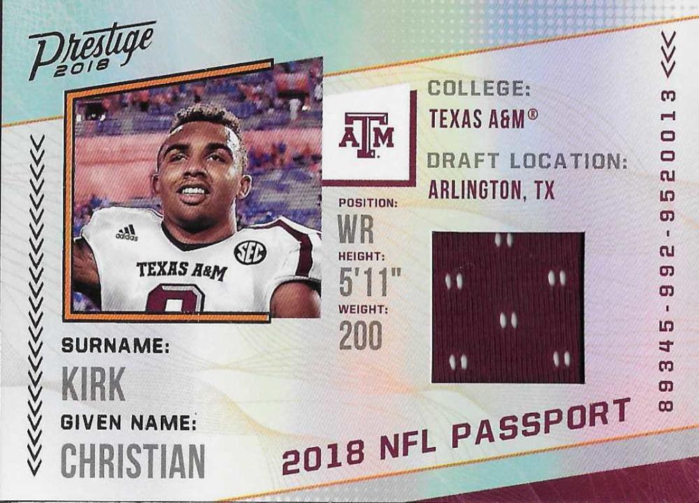 2018 Panini Prestige NFL Passport Memorabilia