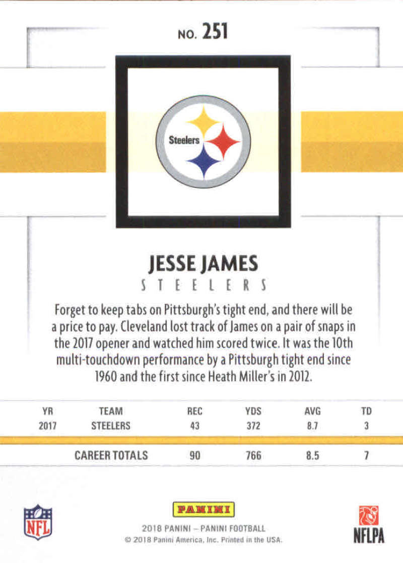 f7a3a374d9c Big K s Trading Cards Item  386776 -- 2018 Panini NFL Football  251 Jesse  James Pittsburgh Steelers Official Trading Card