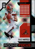 2018 Unparalleled Football Rookie Focus #7 Baker Mayfield Cleveland Browns Official NFL Trading Card made by Panini